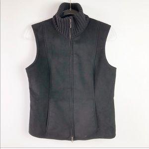 Ann Taylor Black Faux Fur Suede Vest